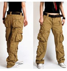 women's army cargo pants Women's bags overalls female straight loose casual pants trousers