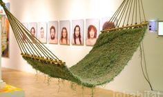 Naturalise living hammock made of soil-less plants by Ainhoa Garmendia calls to fight throw-away culture Table Lanterns, Tin Can Lanterns, Unique Furniture, Outdoor Furniture, Outdoor Decor, Hanging Tent, Tree Tent, Hammock Tent, Summer Diy