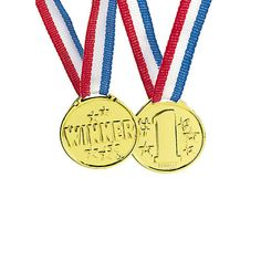 """- Plastic - Each 1 1/2"""" plastic medal is on a 32"""" patriotic red, white and blue ribbon. - Gold colored - 12 pcs"""