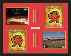 Four framed 8 x 10 inch University of Maryland photos of University Of Maryland  Logo with a customizable nameplate*, double matted in team colors to 28 x 22 inches.  The lines show the bottom mat color.  $159.99 @ ArtandMore.com
