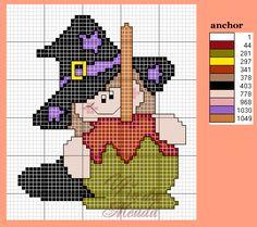 Olá pessoal! O Halloween já é amanhã! Vejam que lindinho esse gráfico de bruxinha. Ainda da tempo de bordar :D