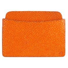 Shagreen Ben Flat Card Case - Orange