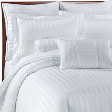 Damask Stripe White Mini Comforter Set, 100% Egyptian Cotton This is from bedbathandbeyond.com, it's $80 and  a nice white color.