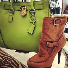 michael kors 'creston' boot paired with 'hamilton' tote #bagporn #shoeporn #perfectpairings