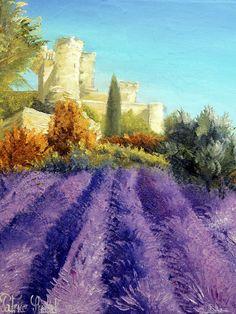 Tableau Peinture Art Lavande Chateau Provence Var Paysages Peinture a l'huile  - Château de la barben