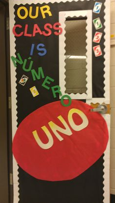 Our school is numero uno Elementary Bulletin Boards, Back To School Bulletin Boards, Classroom Board, Classroom Bulletin Boards, Classroom Games, Classroom Decor, Class Decoration, School Decorations, School Themes