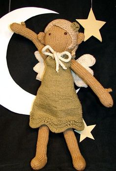 Free Pattern link to pictured doll: http://www.knitty.com/ISSUEwinter07/PATTfairy.html and to revisited doll: http://www.ravelry.com/projects/tausigma/sally-the-eco-fairy