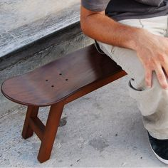 Nollie Flip Stool / Is the Nollie Flip Stool from Skate-Home a bench or a skateboard? It's actually a skateboard stool, with the four legs of a traditional stool supporting a rather extended skateboard top. http://thegadgetflow.com/portfolio/nollie-flip-stool/
