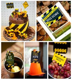 """Come Dig With Me"" Construction Themed Birthday Party via Kara's Party Ideas KarasPartyIdeas.com Cake, decor, banners, desserts, food and more! #construction #constructionparty #constructionpartyideas #boypartyideas"