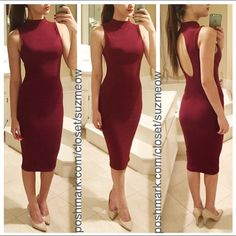 """✅Offers✅ Last! Gorgeous Burgundy Midi Dress • Sz L 🔻 New! Stunning deep burgundy/ wine midi dress. 🔻 Sleeveless, mock neck body con dress with open back detail 🔻 Perfect for the upcoming Fall /Holiday seasons 🔻Available in size L (For reference I'm 5'7 modeling the S). Tight fit but good stretch 🔻 Flattering, medium weight ribbed fabric 🔻 96% Rayon/ 4% Spandex 🇺🇸Made in the USA!🇺🇸 ✅ Discounts when bundled with other items in my closet, I also accept offers using the """"offer"""" button…"""