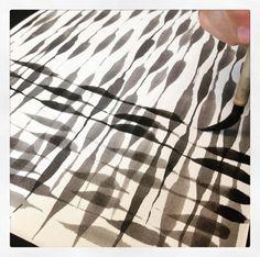 Primeras pinceladas, texturas. Taller de Pintura Japonesa, Sumi-e  Andi DomDom