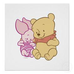 Baby Winnie the Pooh & Piglet Hugging print