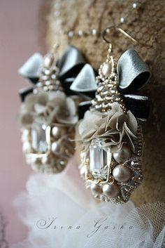 Bride Earrings, Pearl Earrings, Shibori, Diamond Earrings, Brooch, Embroidery, Pearls, Beading, Jewelry