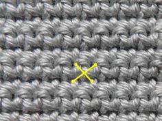 Kruissteek borduren op haakwerk, rechtshandig