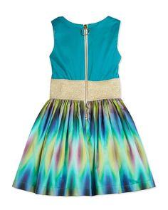 Sleeveless Tie Dyed Party Dress, Aqua, Size 2-6X