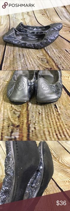 Tory Burch EDDIE Pewter Glitter Ballet Flats Leather Sole Eddie Glitter Scrunch Ballet Flats W/ Original Box & Dust Bag By: Tory Burch               SIZE: 8.5 M MATERIAL: Leather. CONDITION: Very well worn especially in the sole area and under shoe. Shoes from the top look pretty good. Worn areas can't be seen that much when on. Please see all pictures. SHOES SOLD AS IS. Tory Burch Shoes Flats & Loafers
