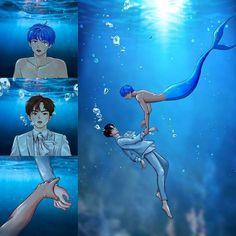 Read Mermaid from the story Vkook Fanart by XIIIVI (TaeforKook❤) with 515 reads. Vkook Fanart, Fanart Bts, Taekook, Bts Manga, Taehyung Photoshoot, Cute Gay Couples, Merman, Bts Drawings, Bts Chibi