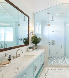 Turquoise Cabinet Paint Color shaker cabinets are Lacquered Dunn Edwards 'Rolling Waves'; in Semi-Gloss Dunn Edwards 'Rolling Waves Large Bathrooms, Small Bathroom, Bathroom Ideas, Master Bathroom, Modern Bathroom, Charcoal Bathroom, Guys Bathroom, Blue Bathrooms, Shower Bathroom
