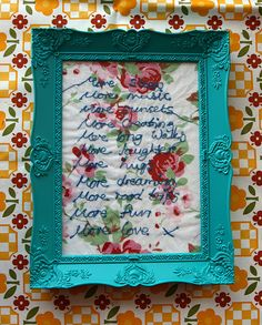 """Embroidery """"More"""" in frame by Maria Wigley, via Flickr"""