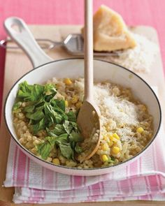 Barley Risotto with Corn and Basil recipe - the barley gives this dish a nuttier taste and more fiber