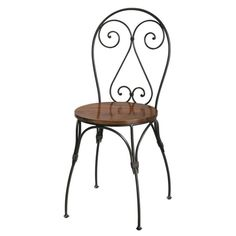 Solid sheesham wood and wrought iron heart-back chair Lubéron | Maisons du Monde