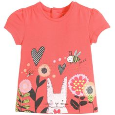 Girls coral pink, stretch cotton t-shirt by Deux Par Deux. This printed top has a rabbit surrounded by pretty garden flowers, insects and embroidered leaves. It is has capped sleeves, and is gathered across both the front of the shoulders and below a single button fastening at the back.