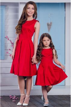 """Mommy and I are ready in red. Mommy Daughter Dresses, Mom Dress, Mom Daughter, Baby Dress, Mother Daughter Pictures, Mother Daughter Fashion, Mom And Baby Outfits, Matching Family Outfits, Girls Dresses"
