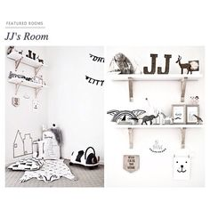 """""""It's black, it's white and it is home for one adorable little dude called JJ. With a strong Scandinavian influence, the room is chic and simple but features just enough trinkets to keep the eye entertained and the imagination alive..."""" Oh @littlegatherer thank you for featuring master JJ's room on your website. You guys rock! #masterjj #hellolittlebirdie #boysroom #nursery #jj #interiorstylistforkids #interiordesigner #Scandinavian #fun #budgetroom #decor #kidsdecor #kidsrooms #rug #black…"""