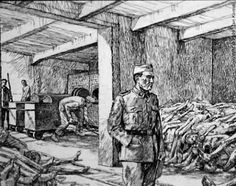 Corpses, stacked high in the Crematorium I storage chamber, awaited burial in the adjacent room. The burial was simple - in the fire and smoke of the furnaces. Prisoners, called Sonderkommando, or special squad, were forced to work in this place, on pain of death.