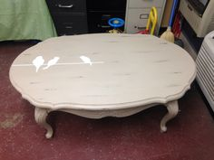 Coffee table done in cece caldwells myrtle beach sand with bird accents