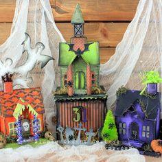 Nicole Wright Designs: Creepy Carved Pumpkin Dwelling Tim Holtz Village Dwelling die