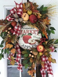 Apple Wreath Farmhouse Wreath Fall Wreath Farmers Market Wreath Wreaths for Front Door Fall Farmhouse Decor Fall Wreath for Front Door Apple Wreath, Pumpkin Wreath, Summer Wreath, Wreath Fall, Grapevine Wreath, Autumn Wreaths For Front Door, Apple Decorations, Kitchen Decorations, Christmas Decorations