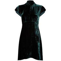 Sandro High Neck Velvet Dress (5,925 MXN) ❤ liked on Polyvore featuring dresses, high-neck dresses, sandro dress, high neckline dress, fit flare dress and velvet fit and flare dress