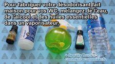 Ingrédients 200 ml d'eau 50 ml d'alcool à 70° De l'huile essentielle de citron (environ 20 gouttes)  Un flacon spray Comment faire 1. Mettez l'alcool et l'huile essentielle dans le spray.  2. Secouez pour bien mélanger. 3. Ajoutez 200 ml d'eau. 4. Secouez à nouveau pour mélanger. 5. Vaporisez.