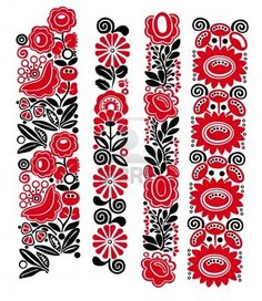 Traditional Hungarian floral patterns Stock Photo