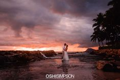 Cloudy golden hour sunset session in Oahu, Hawaii at the beach in wedding dress Hawaii Elopement, Natural Light Photography, Some Image, Oahu Hawaii, Golden Hour, My Images, Portrait Photographers, Wedding Dress, Sunset