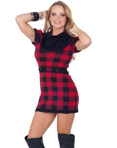 Short Sleeve Cowl Neck Fitted Warm Winter Plaid Sweater Mini Dress Top S M L $37.99