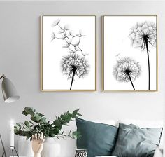 Dandelion Painting, Dandelion Wall Art, White Dandelion, Cactus Wall Art, Black And White Posters, Black And White Wall Art, Black And White Painting, Black White, Canvas Poster