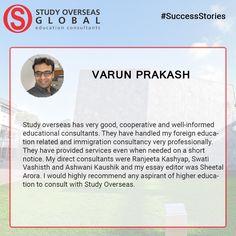 #StudyOverseas #Testimonial #VarunPrakash #FacebookReview #Rated5Stars #ThankYou