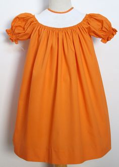Ready to Smock Your Halloween Smocking Plate in This Orange Bishop Dre – Carousel Wear