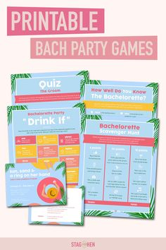 It's not a bachelorette weekend without a few fun games to get the party started! We created four classic and fun beach-themed bachelorette party activities the entire bride squad will love. Choose from a Bachelorette Party Scavenger Hunt, Drink If Drinking Game, Groom Quiz, Bridal Trivia or purchase the bundle and get one game free! Pair with matching bachelorette party invitations, cups, coozies and shirts from our Sun & Sand Bachelorette Party Collection to complete the theme. Bachelorette Party Scavenger Hunt, Bachelorette Party Activities, Bachelorette Party Drinks, Beach Party Games, Bridal Party Games, Beach Bachelorette, Bachelorette Party Invitations, Fun Games, Wedding Table