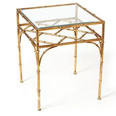 Gold Finch Bamboo Side Table  