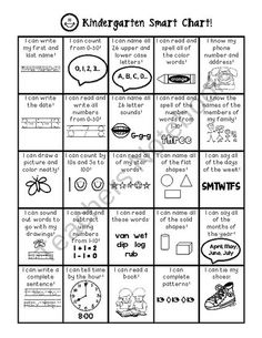 A great way to show kindergarten students all of the things they are learning all year. Each box can be colored in or marked with a sticker or stamp. Parents and students can easily see their progress. It has math, language arts, and other important sk