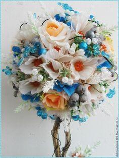 """Топиарий""""Нежная лазурь"""". - белый,голубой цвет,топиарий,подарок на любой случай"""