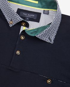 Printed collar polo shirt - Navy | Tops & T-shirts | Ted Baker UK