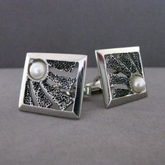 Vintage Sterling Silver And Pearl Mid Century Modernist Textured Cufflinks