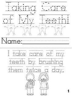 Cut, Trace & Color Printable Book for Dental Health! - keeping clean - Dental Dental Hygiene, Dental Health, Oral Health, Dental Care, Health Tips, Create This Book, Health Unit, Health Activities, Wisdom Teeth