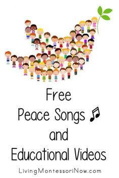 Lots of free peace songs and educational videos for a variety of ages; perfect for home or school - Living Montessori Now Kindergarten Art Activities, Preschool Songs, Music Activities, Montessori Activities, Fall Preschool, Montessori Materials, Songs About Education, Peace Poems, Peace Education