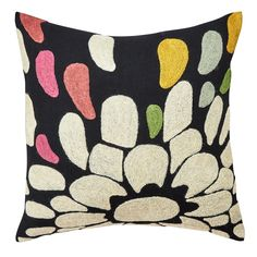 Fair Trade + Handmade Crewelwork Petals Pillow // Abstract Flower Throw Pillow // Ethical Home Decor // Slow Design