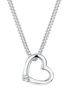 Elli Damen Schmuck Halskette Kette mit Anhänger Herz Ewige Liebe Freundschaft Liebesbeweis Silber 925 Swarovski Kristalle Weiß Länge 45 cm